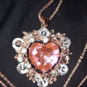 Betsey Johnson blingy soft pink heart necklace